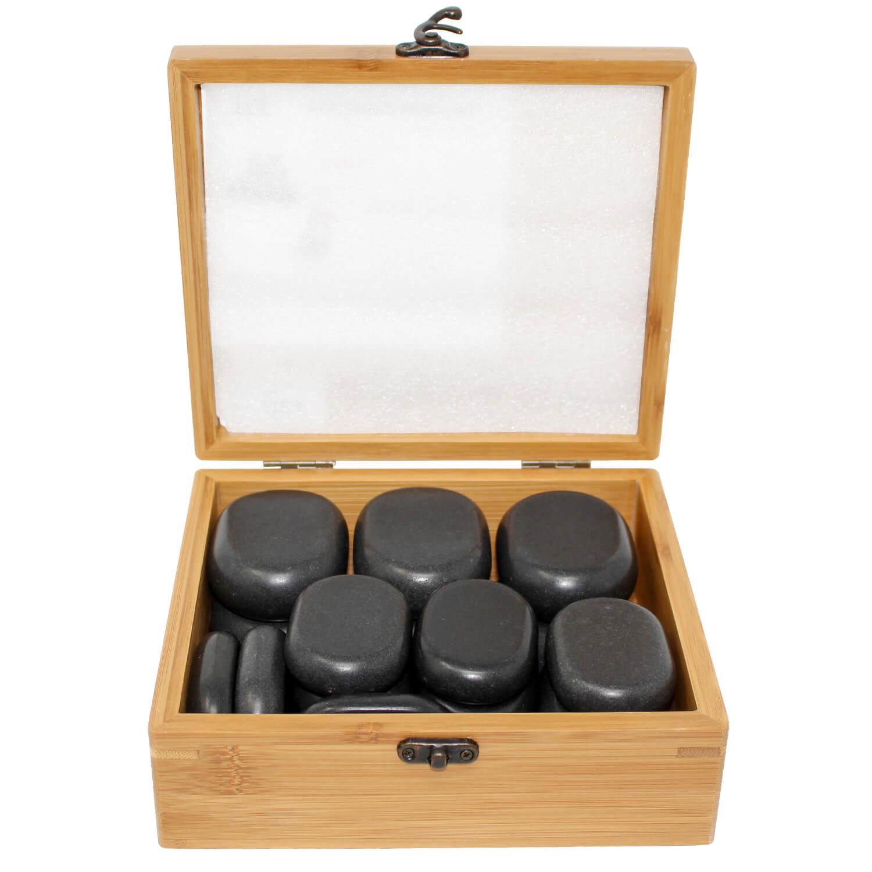 Massagestein Set in der Bambusbox