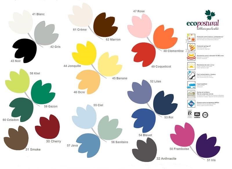 Farbpalette Kunstleder 2019 Ecopostural