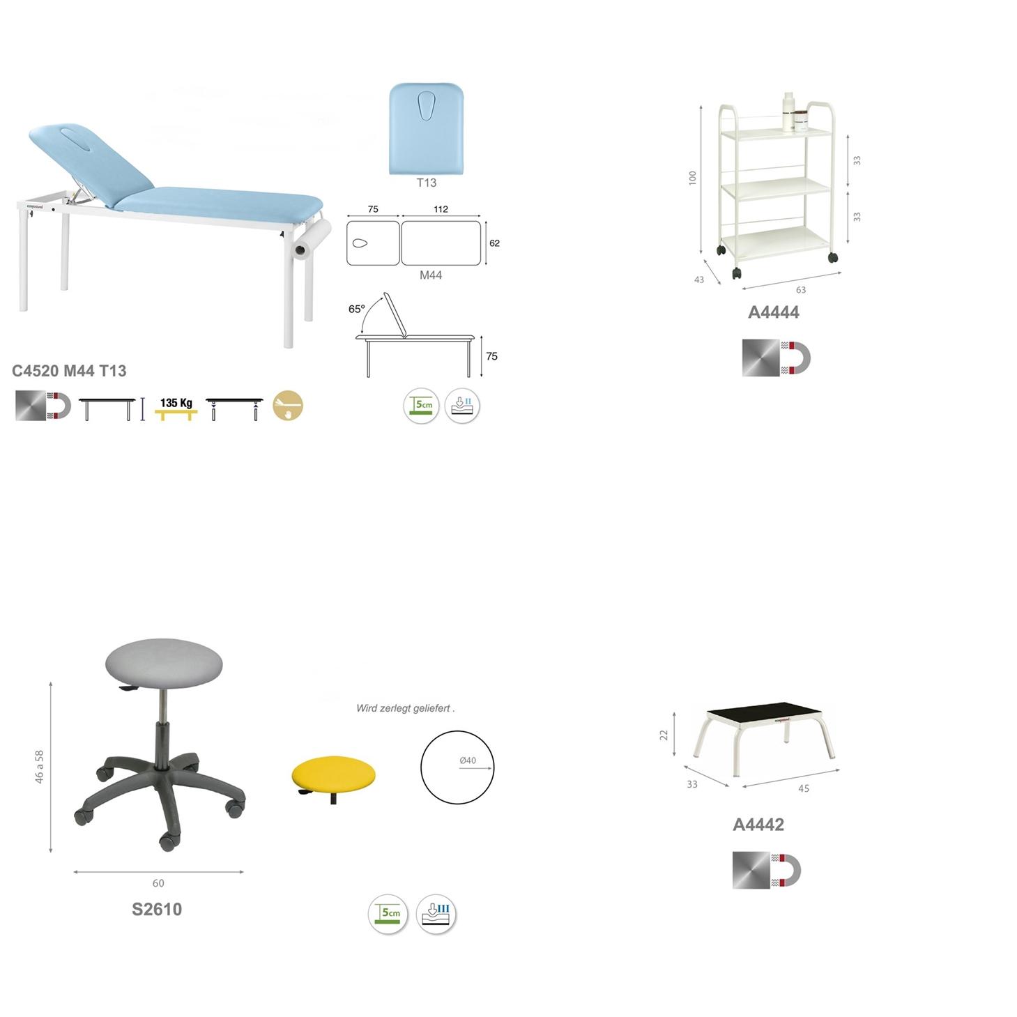 Einrichtungs-Set PACK01 im Detail.  - Technische Details Ecopostural