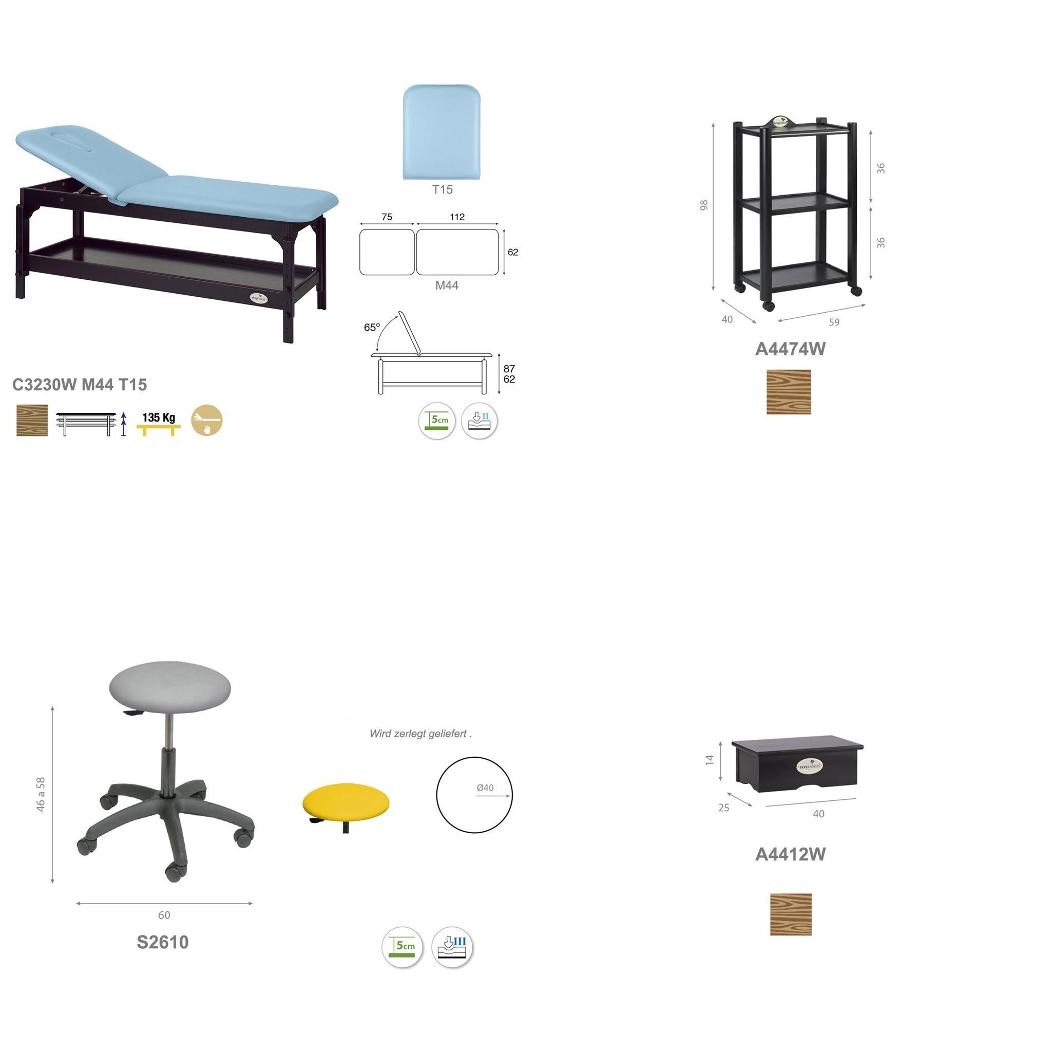 Einrichtungs-Set PACK03W im Detail.  - Technische Details | Ecopostural