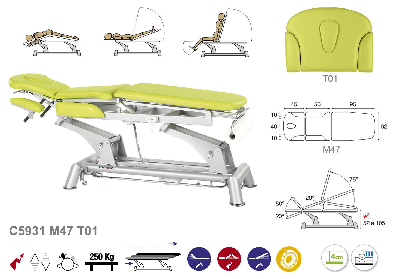 Massageliege & Therapieliege & Multifunktionsliege C5931 mit Kopfteil T01  - Technische Details Ecopostural