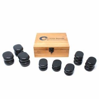 Hot Stone Massagestein-Set - 18-teilig mit Bambusbox