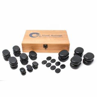 Hot Stone Massagestein-Set - 36-teilig mit Bambusbox