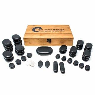 Hot Stone Massagestein-Set - 45-teilig mit Bambusbox